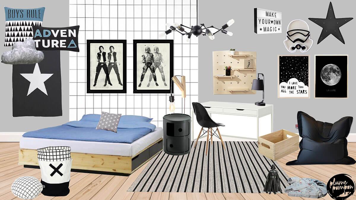 E-design de Plume pompon chambre garçon