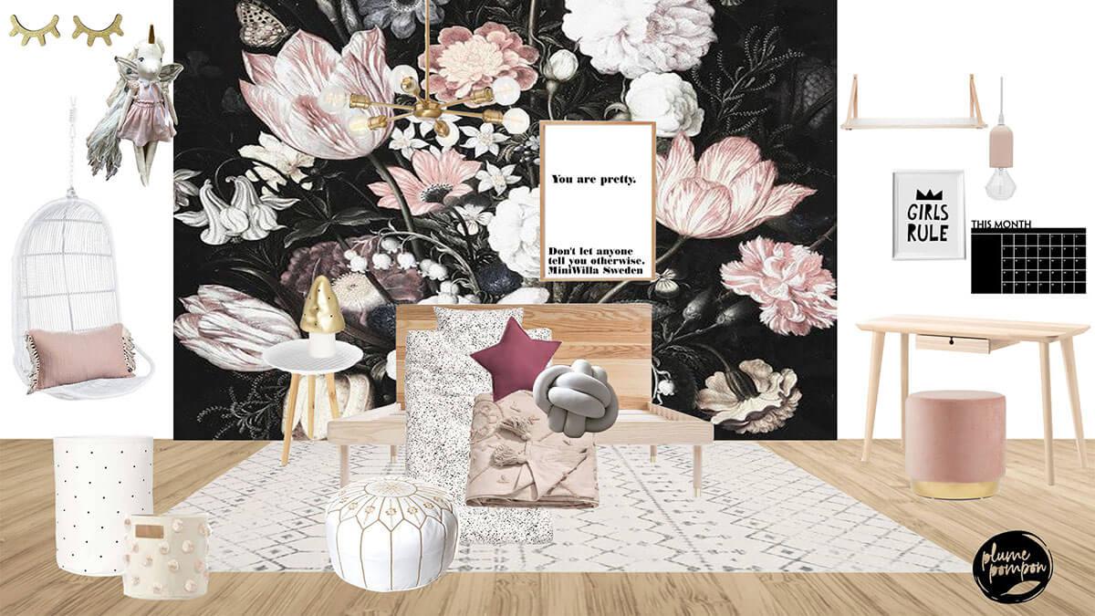 E-design chambre fille plume pompon