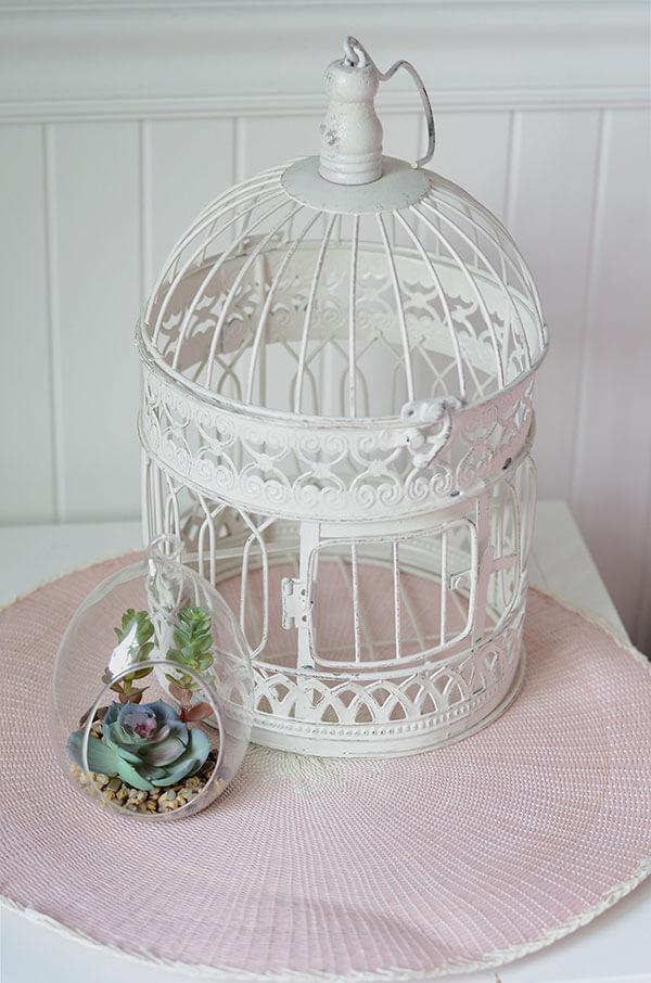 Cage blanche et petites plantes sur la table blanche chambre fille