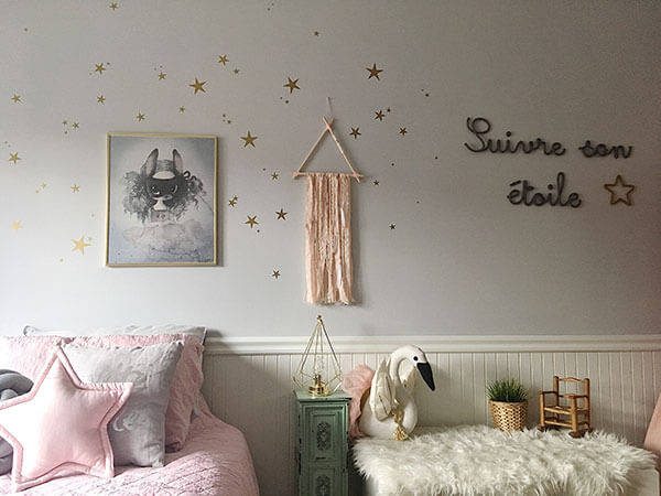 Douillet coussins étoiles rose et cygne blanc