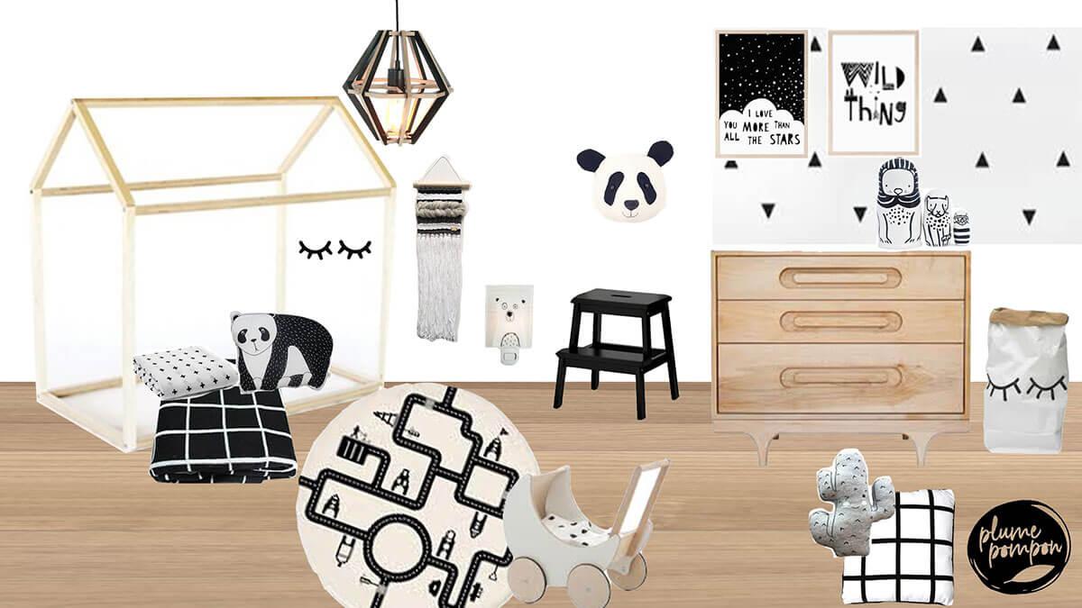 e-design service de deco plume pompon stylisme chambre unisexe